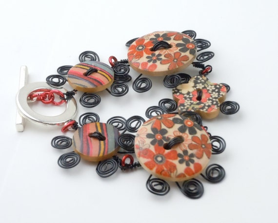 Wooden Flower Button Bracelet