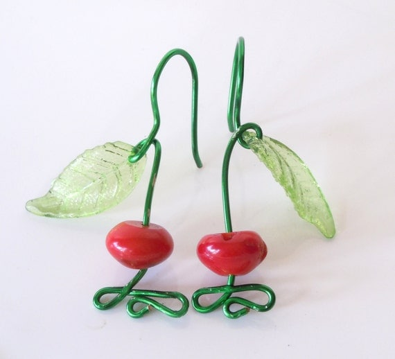Cherry Earrings Red and Green Summer Fun