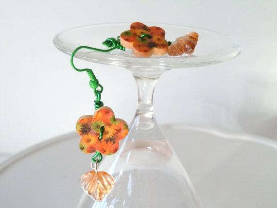 Hot Summer Orange Flower Power Earrings in a Little Wooden Button