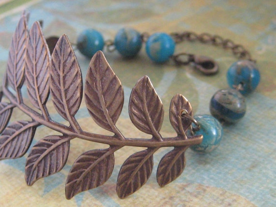 A Touch Of Nature - Woodland Accessories - Leaf Branch Bracelet In Antique Brass - Bridesmaid, Maid of Honor, Special Occasion