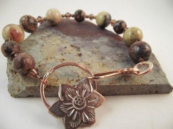 Beaded Bracelet / Jasper  Bracelet /   Flower Bracelet / Bracelet under 40/ Designer Jewellery B-084