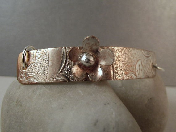 Silver Bracelet/ Silver ID Bracelet/ Flower Bracelet/  Silver  Daisy /Designer Jewelry B-366