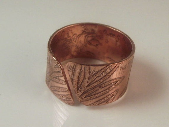 Copper Ring/ Adjustable Ring/ Unisex Ring/ Wide Band Ring/ Etched Metal/ Handcrafted Jewelry/ Artisan/R-402