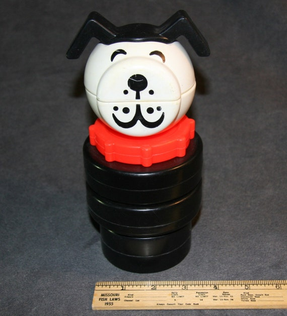 1970s early 70s Fisher Price Playskool Plastic Dog Stacking Toy Its the little dog except it is gigantic