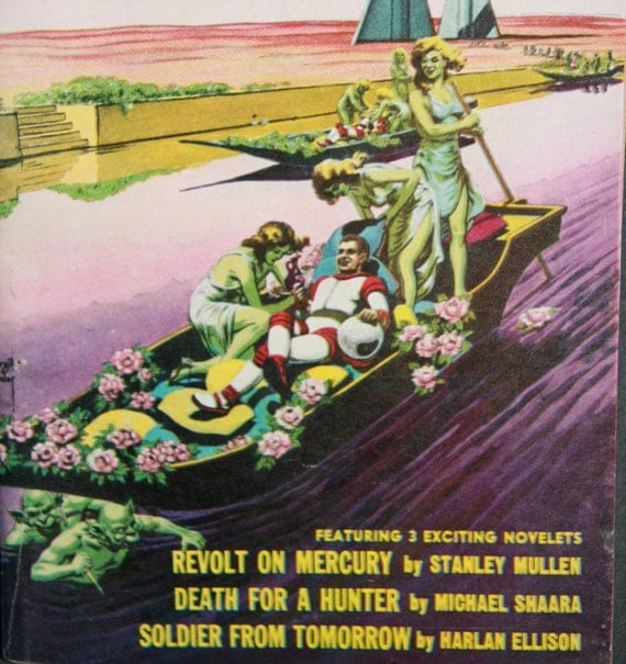 Two 1950s 1957 Pulp Sci Fi Books Harlan Ellison Jack Webb Space Venus Nymphs spacesuit rocket ship science fantasy