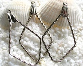 Rhodium Plated Steel Earring or Necklace Drops - Twisted Triangle - 22mm x 40mm - 12 or 24 pcs