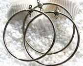 Rhodium Plated Steel Earring or Necklace Drops - Round shape - 39mm - 12 or 24  pcs
