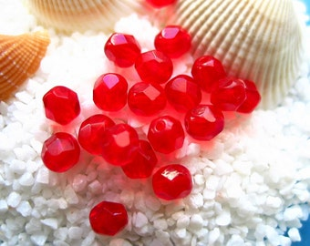 Czech fire polished 6mm glass beads-50 pcs translucent red