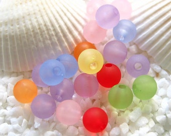 Acrylic Frosted Beads - 6mm - 100 pcs assorted colors