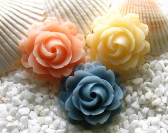 Resin Flower Cabochon - 21mm - 6 pcs -  CHOICE of COLOR