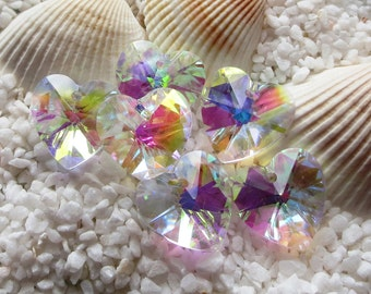 Faceted Glass Heart Pendant - Clear AB - 14mm - 5 pcs