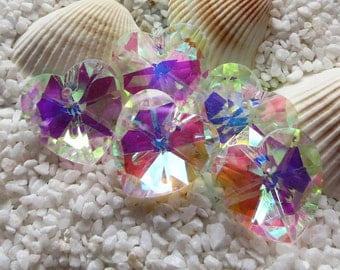 Faceted Glass Heart Pendant - Clear AB - 18mm - 5 pcs