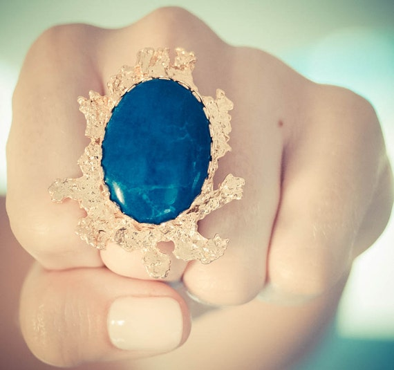 Liquified Statement Ring in Lapis