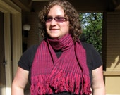 Pink and Purple stripes Lightweight Wool Scarf (Handwoven)