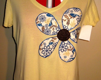 SALE - Fitted Women's Applique T-Shirt; Size XL