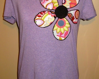 SALE - Fitted Women's Applique T-Shirt; Size Large