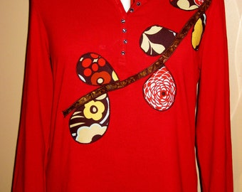 SALE - Women's Red Long Sleeved Tunic Applique Shirt; Size XL