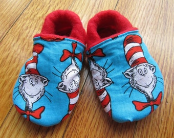 Dr. Suess Baby Shoes / Birthday Outfit Shoes / Soft Soled  / Toddler Shoes, Leather Birthday shoes, Thing 1 Thing2