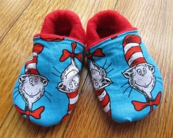 Dr. Suess Soft Soled Baby / Toddler Leather first Birthday shoes Twins Party Outfit