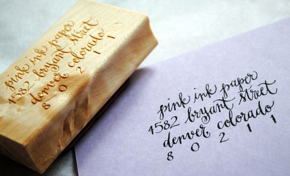 Return Address Rubber Stamp Hand Calligraphy 3 X