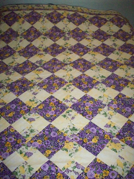 Purple and Yellow Floral Quilt Top (with backing fabric)