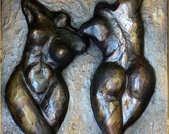 RECTO-VERSO - Bronze Relief plaque - Original piece
