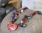 Copper artisan heart choker with raku glass, jasper and raku porcelain beads