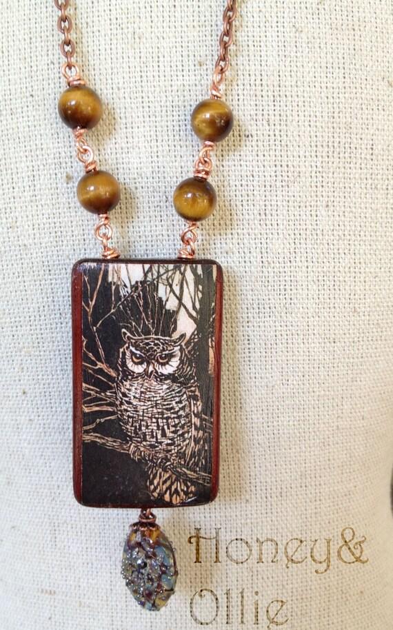vintage fairy tale bamboo tile pendant