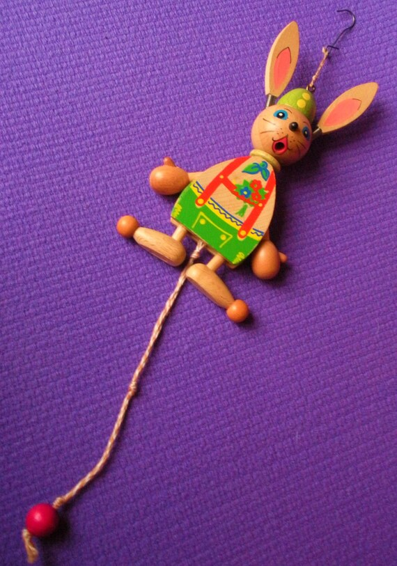 Rabbit pull toy from Austria made in the 1960's