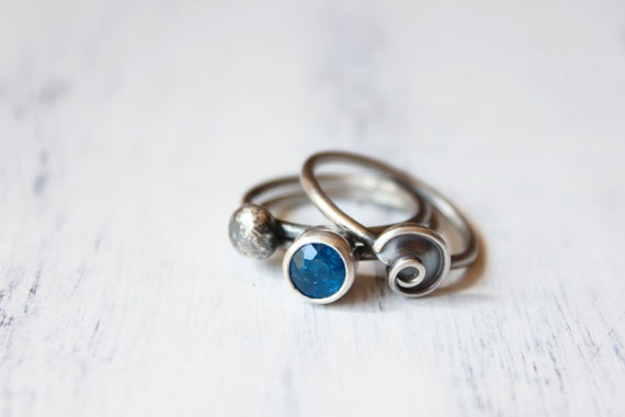 Nautical Stacking Rings, sterling silver, seashell, pebble, blue apatite - Beachcomber Stacking Rings Trio