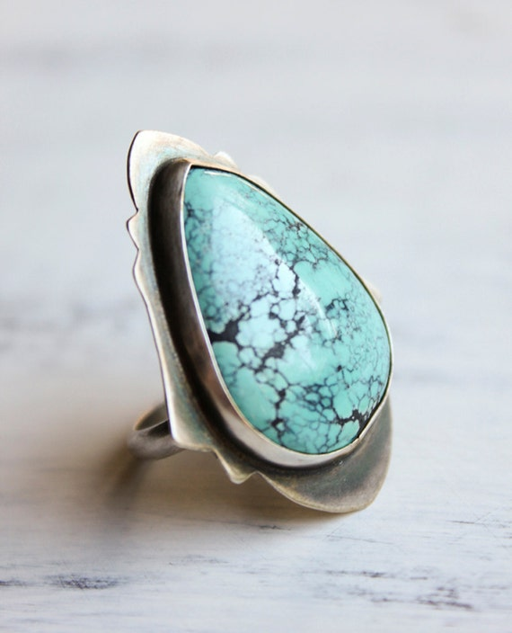 RESERVED for Julia - Turquoise Ring, Sterling Silver, Cocktail Ring, Statement, Size 7, Moroccan - The Beauty of Arabesque Ring in Turquoise