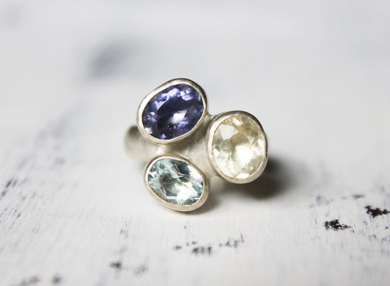 RESERVED for Troy - Multi Stone Ring, Gemstone Ring, Sterling Silver, Three Stone Ring, Aquamarine, Iolite, - The Gemstone Trio Ring