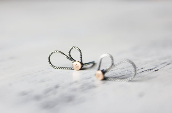 COUPON SALE Petite silver earrings, 9 ct gold, gifts under 50, minimal jewelry - The Aile Earrings
