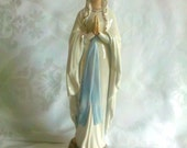 Vintage Goebel Virgin Mary Notredame des Lourdes Statue Porcelain Artist Signed Germany