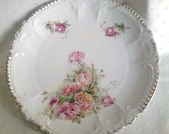 Pretty Cottage Chic Royal Bavarian Pink Roses Hanging Plate 8' German VINTAGE