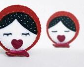 Matryoshka  mini plush- chrismas decoration in red