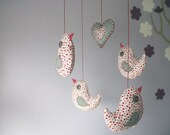 Bird baby mobile - hanging nursery crib set in red n grey with felt heart
