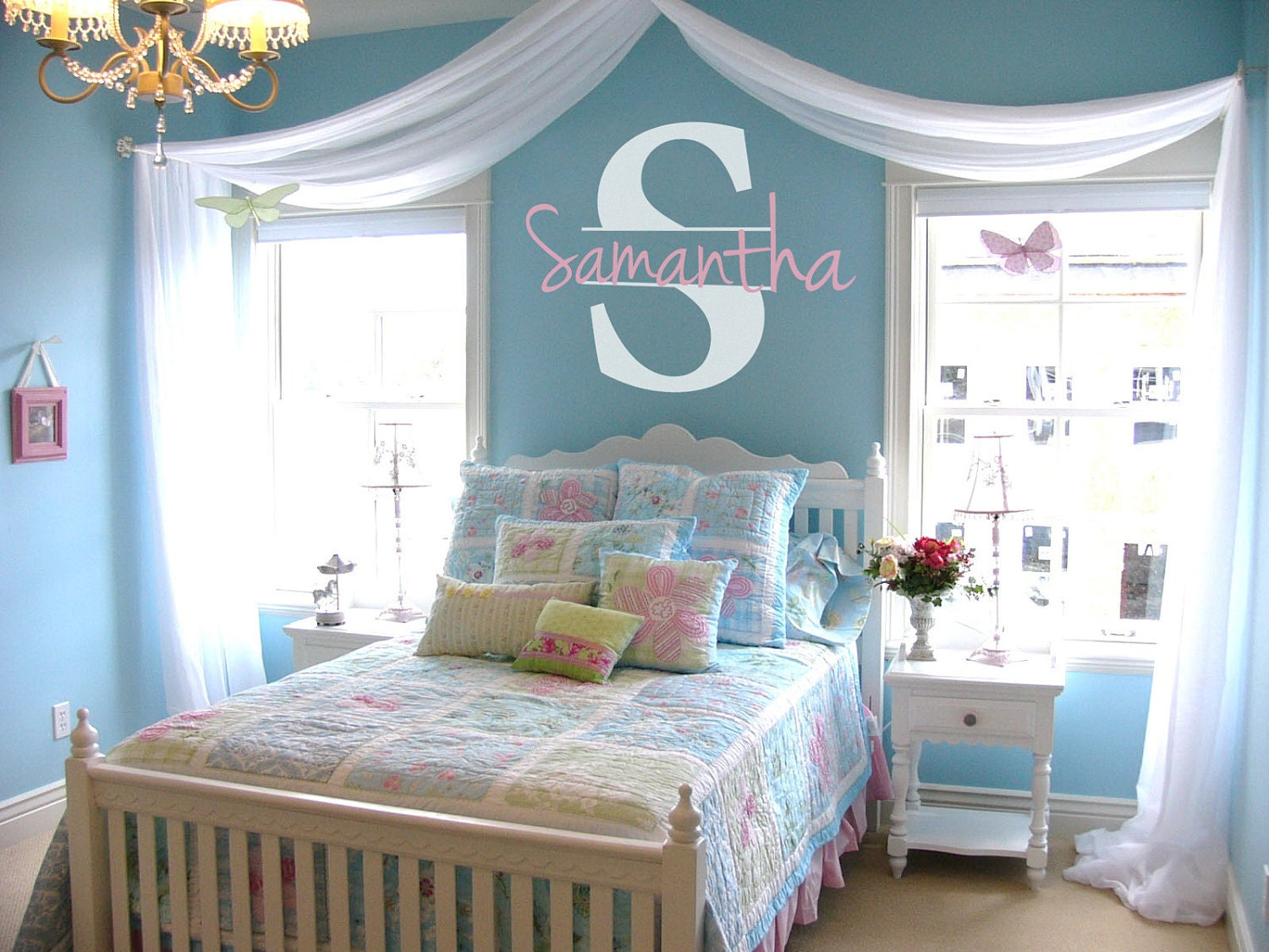 Personalized name initial vinyl wall decal sticker - Small girls bedroom decor ...