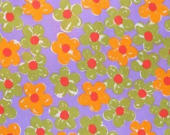 Purple floral print fabric 1 yard
