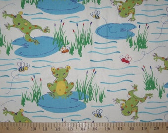 Frogs on lily pads decorator weight fabric  26 inches by 44 inches wide