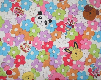 Animals treats and flowers Japanese on white fabric 1 meter