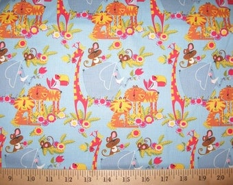 Anna Griffin Bailey Jungle Animals on blue 1 yard Windham Fabrics