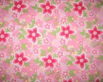 Korean import Pink floral fabric 1 yard
