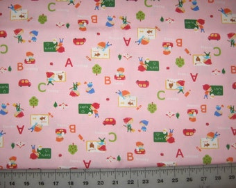 Japanese import School A B C apples  on light pink 1 yard cotton light canvas fabric
