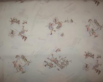 Japanese import Winter Snow Holiday Children on cream 1/2 yard cotton fabric