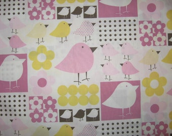 "Flowers and Birds yellow pink white brown fabric 36"" X 40"""
