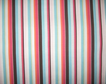"Summer in the City Brown White Orange Blue Pink Stripe 21"" X 42'Urban Chiks for Moda"