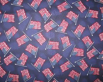 Hoffman Fabrics American Flags on navy blue 1/2 yard