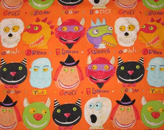 Nancy Wolff Halloween Scary Faces on Orange RARE 1/2 yard fabric