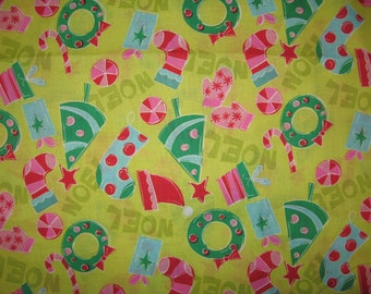 Noel by Springs Creative Products Christmas  fabric on lime 1 yard
